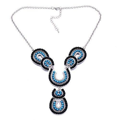 Silberton Türkis Horseshoe Shaped Bib Statement Halskette für Frauen