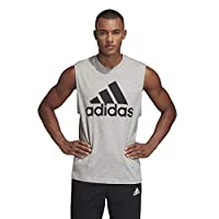 Adidas Men's Must Haves Badge of Sport Tank Top Tank Tops, Grey (Medium Grey Heather/black), Large