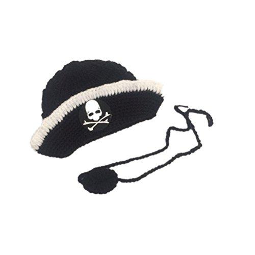 STOBOK Neugeborenes Baby Pirat Hut Handgemachte Häkelarbeitknit Kostüm Foto Fotografie Prop Hut (schwarz)