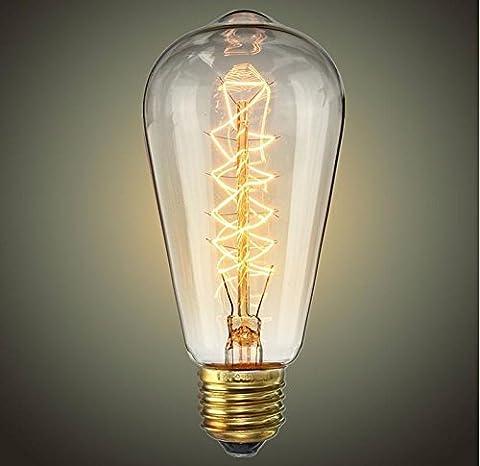 KesiErte Glühbirne Vintage-Edison-Glühlampe 40W-ST64 Antike Glühfaden Wrap Style-E27 Medium-Basis Kronleuchter