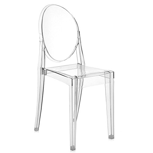 Kartell Victoria Ghost silla Fireproof, Crystal, 4 Unidades