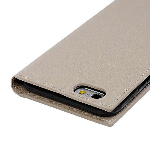 Badalink Hülle für iPhone 6/6s Geschäft Grau Handyhülle Leder PU Case Cover Magnet Flip Case Schutzhülle Kartensteckplätzen und Ständer Handytasche mit Eingabestifte und Staubschutz Stecker Grau