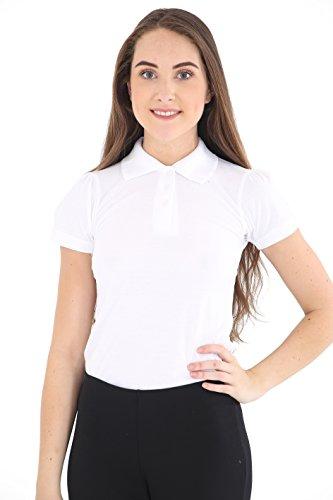 GW CLASSYOUTFIT® 2 X *GIRLS* Kids Plain Polo Tee T-Shirt School Shirts Uniform PE Top Gym Tops (9-10, 2X WHITE)