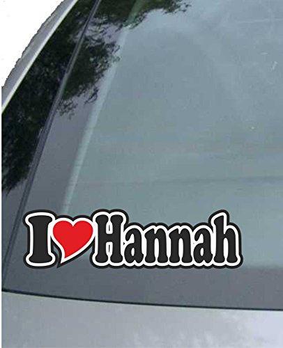 INDIGOS UG - Aufkleber/Autoaufkleber I Love Heart - Ich Liebe mit Herz 15 cm - I Love Hannah - Auto LKW Truck - Sticker mit Namen vom Mann Frau Kind