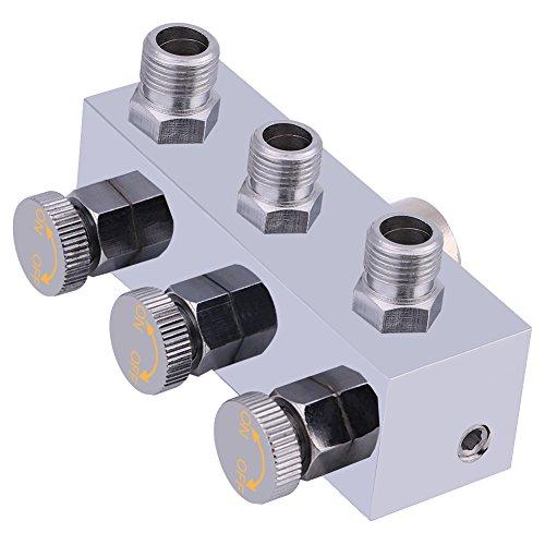"""3-Fach Airbrush Druckluftverteiler Schlauchverteileranschluss 1/8\""""BSP mit Einstellknopf"""