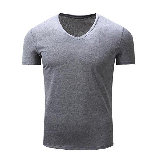T Shirt Herren, HUIHUI Coole V-Ausschnitt Kurzarm Sweatshirt Slim Fit Basic uv Polo-Shirt Mode Sport Oberteile Oversize Bench Tops Solid Sommer Freizeit Hemd Poloshirt (XXXL, Grau)