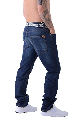 Herren Crosshatch Techno Jeans Geprägt Dunkel Gewaschener Denim Hosen Mit Gratis Gürtel halbdunkle Waschung Gamito