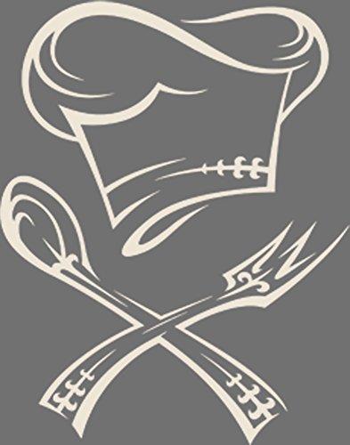GRAZDesign 620023_30_816 Wandtattoo Küche Kochmütze mit Besteck | Küchen-Sprüche für Küchenwände | Wandsticker aus Markenfolie - für Esszimmer | Top Geschenk für Mama (38x30cm//816 Antique White) - White Vinyl Top Küche
