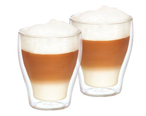 doppelwandige Kaffeegläser, 2er - Set, isolierend, hitzebeständig, 270ml, Cappuccinogläser, Latte-Macchiato-Gläser, Teegläser