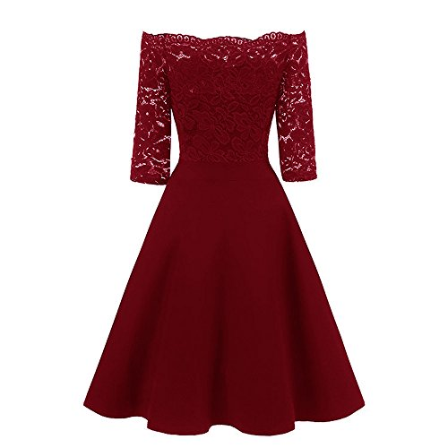 Damen Kleid Dress,OSYARD Frauen Vintage 1950er Off Schulter Spitze Cocktail Party Swing Kleid Vintage Partykleid,Elegant Abendkleid Cocktailkleid Schulterfreies Knielang Festlich Kleider ()