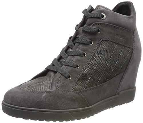 Geox Damen D CARUM C Hohe Sneaker, Grau (Dk Grey C9002), 37 EU