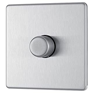 BG Electrical FBS81P-01 Screwless Flat Plate 400W 1 Gang 2 Way Push Dimmer Switch, Brushed Steel, 400 W