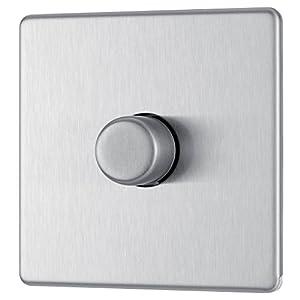 BG Electrical Screwless Flat Plate Single Dimmer Light Switch, Brushed Steel, 2-Way, 400 Watts