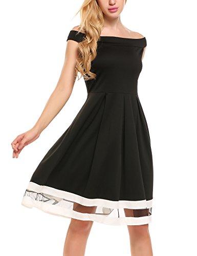Meaneor Damen Schulterfreies Kleid Sexy Hoch Taille Abschlusskleid Skaterkleid Kurz Cocktailkleid...