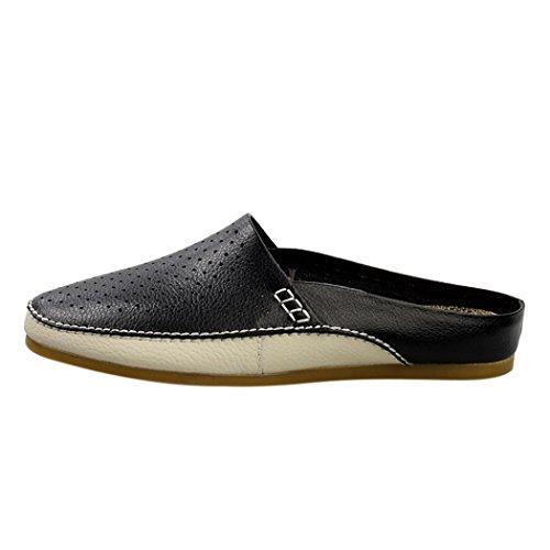 Spades et clubs d'été pour homme en cuir respirant antidérapant sur dos ouvert Chaussons Mules Chaussures Appartements Noir - noir