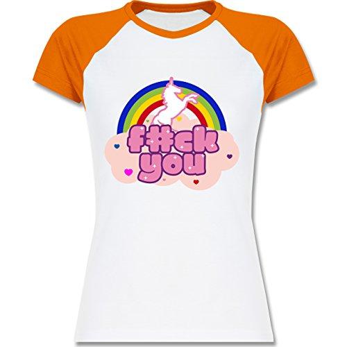 Statement Shirts - F#CK YOU Einhorn - zweifarbiges Baseballshirt / Raglan T-Shirt für Damen Weiß/Orange