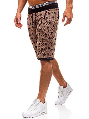 5c33728f8819 BOLF Herren Kurze Hose Sporthose mit Aufdruck Print Motiv Street Style  MADMEXT 2401 Camel S