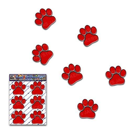 Stampe della zampa rosso cani gatti animali piccoli pacchi Adesivi per auto - ST00002RD_SML - Adesivi JAS