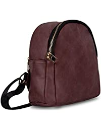 Zureni Girls Cute PU Leather Mini Backpack Waterproof Casual Travel Hiking Camping Bagpack Shoulder Purse for Teen Girls and Women (Maroon)