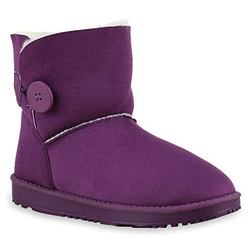 Warm Gefütterte Damen Stiefeletten Schlupfstiefel Boots Lila