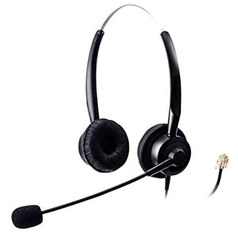 Wantek Binaural Call Center Telephone Headset Headphone with Mic for Plantronics M10 M12 Amplifier and Cisco Unified IP Phones 7940 7941 7942 7945 7960 7961 7962(H220P01B)