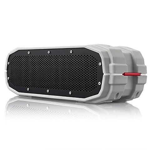 BRAVEN BRV-X Outdoor Bluetooth Lautsprecher | Wasserdicht nach IPX7| Integrierte 5.200mAh Powerbank zum Laden von Smartphones |12 Stunden Musik-Wiedergabe - Grau/Weiß