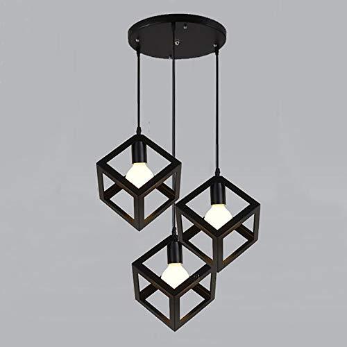 éclairage plafond pendentif noir Fer Forgé 3 Têtes géométrique Art moderne Pendant Light Luminaires lampe Rétro industriels pour Salle à manger Chambre Escalier Hall d'entrée