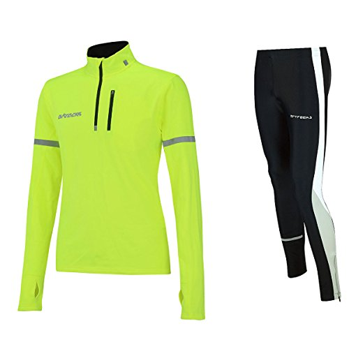 Airtracks Winter Funktions Laufset Pro / Thermo Laufhose Lang + Thermo Shirt Langarm - schwarz-neon - L