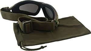 "Lunettes Goggles d'intervention US Army Commando Forces Spéciales ""Black Panther"" Monture Woodland Camouflage - Verres noirs - Airsoft - Paintball - Moto - Quad - Ski - Snow - Outdoor"