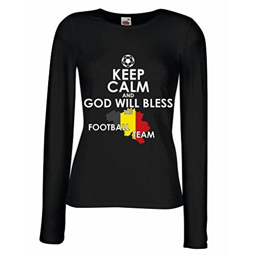 Weibliche Langen Ärmeln T-Shirt Gott Wird die belgische Fußballmannschaft, die belgische Flagge segnen (XX-Large Schwarz Mehrfarben)