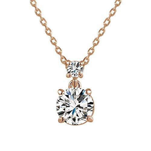 hktc Präzise 4Zinken Hochzeit Schmuck Rose Gold Versilbert 2ct Gemini Künstlicher Diamant Anhänger - Origami Gold Kette Eule