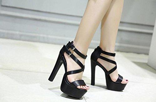 OL Pompes Cross Straps Plateforme 5 cm Stiletto13.5 cm Talon Ouvert Toe Buckle Casual Mariage Chaussures Vintage Taille de l'UE 35-39 Black