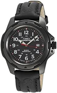Timex Expedition Analogue Watch T49778 with Black Dial and Black Leather Strap