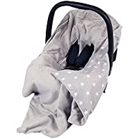 NEW!! UNIQUE DOUBLE-SIDED CAR SEAT BABY GREY BLANKET / COVER / COSYTOES - FOOTMUFF! 100x100cm - GREY/GREY WITH WHITE STARS / BLANKET WITH SEAT BELT HOLES