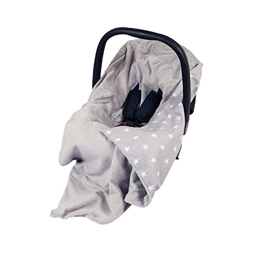 NEW DOUBLE-SIDED BABY WRAP FOR CAR SEAT/BABY TRAVEL WRAP/BABY CAR SEAT BLANKET - GREY/GREY WITH WHITE STARS WRAP/BLANKET / COVER/COSYTOES - FOOTMUFF! 100x100cm - WRAP WITH SEAT BELT HOLES