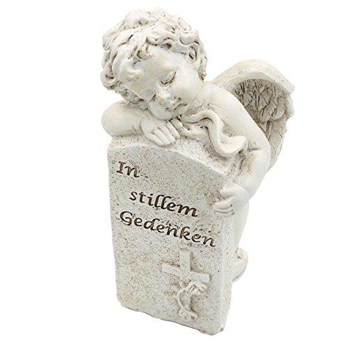 Figur aus Kunststein ~ Engel am Grabstein mit Text ~ In stillem Gedenken ~ 15cm
