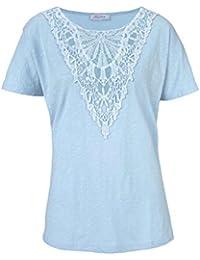 b6e657a3cb0c79 Aniston modisches T Shirt mit Spitze Gr 36 38 S hell blau bleu