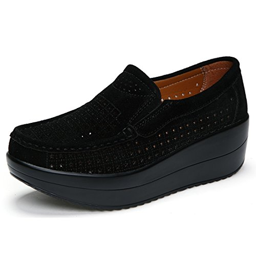 Z.suo mocassini donna in pelle scamosciata moda comode loafers scarpe da guida(38 eu,nero.1)