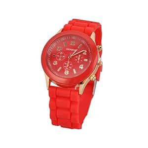 Unisex Geneva Silicone Jelly Gel Quartz Analog Sports Wrist Watch Red