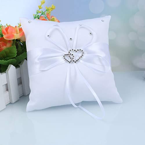 Pixnor Matrimonio delicato raso Rhinstone nuziale anello portatore cuscino cuscino-1 pezzo