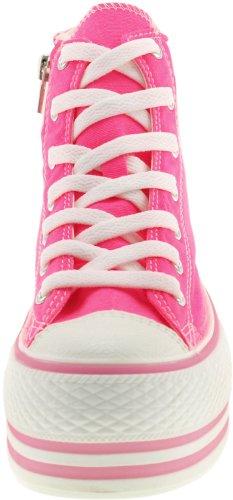 Maxstar C50 7 trous avec fermeture Éclair haute et plateforme Baskets chaussures Rose - Rose fluo