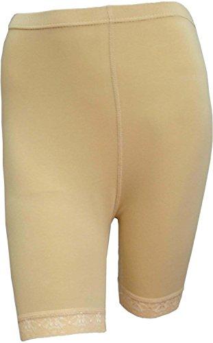 elegance1234 Damen Baumwoll-Lycra-Stretch (ref: 2195 geschnürt) trimmen oberhalb des Knies Radhose aktiv Legging mit Spitze (große(Large), Tan) -