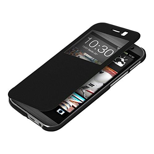 HTC One M8/Dual - Bookstyle Case Handy Schutzhülle mit Sichtfenster - Klapphülle Schwarz (Windows 8 Phone Case)