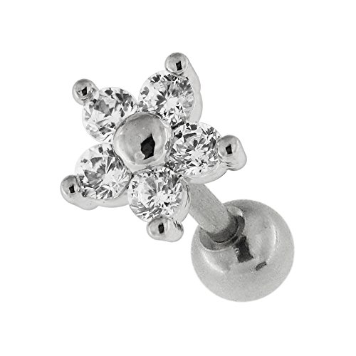 Daisy Flower CZ Stein 16 Gauge 316L chirurgischer Stahl Knorpel Helix Tragus Piercing-Schmuck