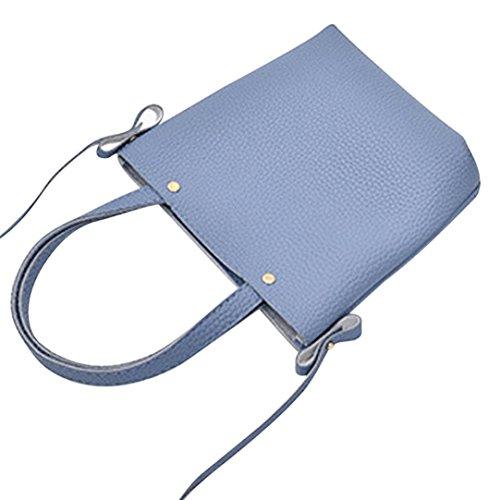 Kuriertasche Blau Frauen TPulling Herbsttasche Art Und Muster Weiche Litchi Weise qww8T1x