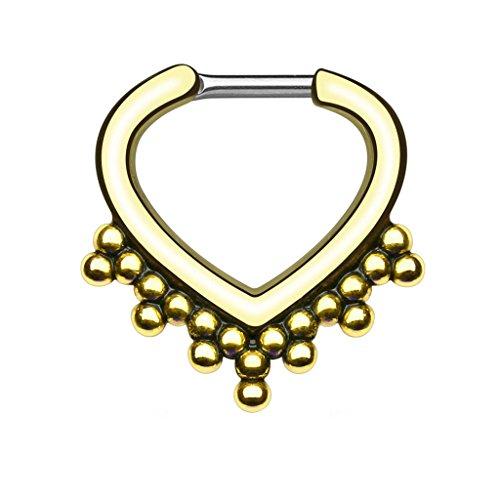 Piercingfaktor Piercing Ring Septum Tragus Helix Ohr Nase Lippe Brust Intim Nasenpiercing Nasenring Ohrpiercing Schild Clicker mit Vintage Herz Gold 1,2mm