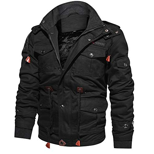 HUIHUI Winterjacke Herren XXXL Geographical Norway Mantel Winter Wolle Hooded Puffer Jacket (Schwarz,XXXL) Hooded Duffle Coat