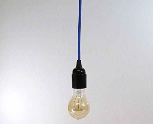 E27/ES Vis. Tissu Bleu oc/éan c/âble Suspension avec ampoule en bak/élite support