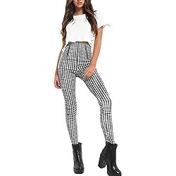 Nimpansa Mujer Pantalones Pitillo De Cintura Alta Pantalones De Cuadros del Casual Tobillo Cremallera Black S