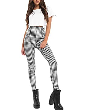 Nimpansa Mujeres Pantalones Pitillo De Cintura Alta Pantalones De Cuadros del Casaul Tobillo Cremallera